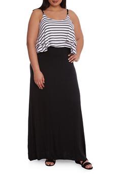 Plus Size Striped Overlay Maxi Dress with Spaghetti Straps - 0390038346830