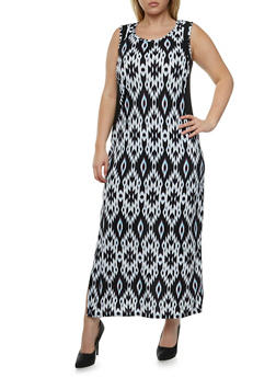 Plus Size Printed Maxi Dress with Illusion Side Panels - 0390038346837