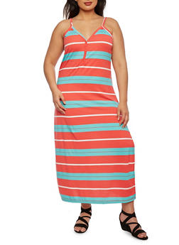 Plus Size Striped Maxi Dress - 0390038346849