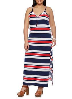 Plus Size Maxi Dress in Stripes - 0390038346850