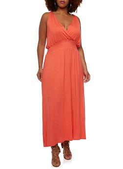 Plus Size Jersey Maxi Dress with Surplice Neck - 0390038346862