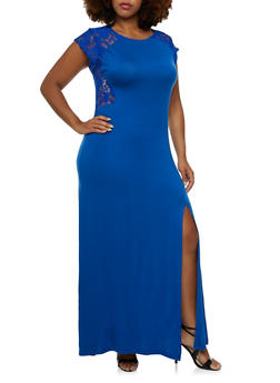 Plus Size Dress with Back Lace Inset - 0390038346864