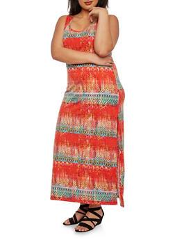 Plus Size Tribal Print Maxi Dress - 0390038346901