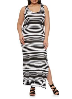 Plus Size Striped Maxi Dress with Side Slit - 0390038346910