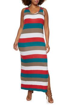 Plus Size Sleeveless Maxi Dress with Side Slit - 0390038346915