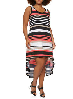 Plus Size Striped Maxi Dress with High-Low Hem - 0390038346920