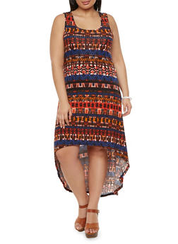 Plus Size Printed Maxi Dress with High-Low Hem - 0390038346927