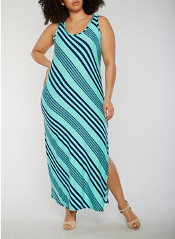 Plus Size Striped Sleeveless Maxi Dress with Side Slit - 0390038347601