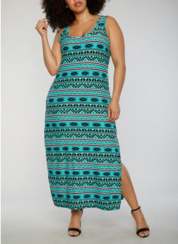 Plus Size Printed Side Slit Maxi Dress - 0390038347602
