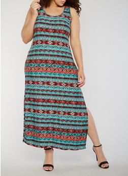 Plus Size Aztec Print Side Slit Maxi Dress - 0390038347603