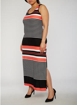 Plus Size Striped Scoop Neck Tank Maxi Dress - 0390038347604