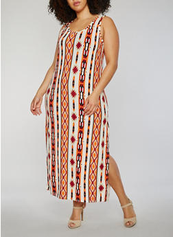 Plus Size Sleeveless Printed Scoop Neck Maxi Dress - 0390038347605