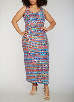 Plus Size Printed Maxi Dress - 0390038347611