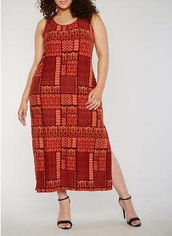 Plus Size Sleeveless Printed Scoop Neck Side Slit Dress - 0390038347613