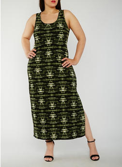 Plus Size Tie Dye Maxi Tank Dress - 0390038347614
