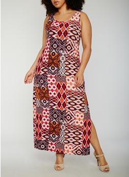 Plus Size Printed Maxi Tank Dress - 0390038347615