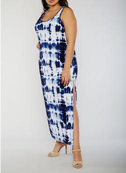 Plus Size Tie Dye Maxi Tank Dress - 0390038347616