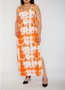 Plus Size Tie Dye Maxi Tank Dress - 0390038347616