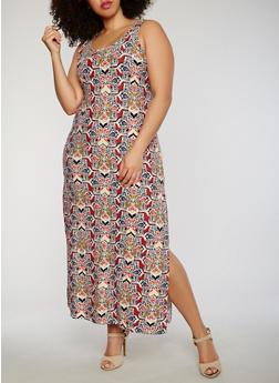 Plus Size Floral Maxi Dress with Side Slit - 0390038347617