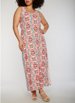 Plus Size Floral Maxi Dress with Side Slit - 0390038347617