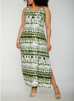 Plus Size Tie Dye Maxi Tank Dress - OLIVE - 0390038347618
