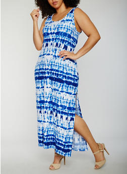 Plus Size Tie Dye Maxi Tank Dress - 0390038347618