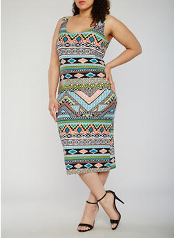 Plus Size Aztec Print Tank Dress - 0390038347619