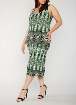 Plus Size Printed Midi Bodycon Dress - 0390038347621