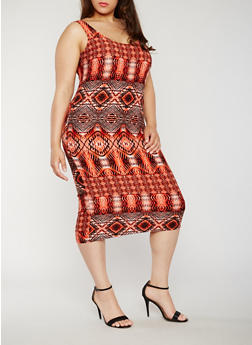 Plus Size Printed Midi Bodycon Dress - 0390038347621