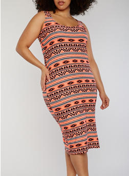 Plus Size Aztec Print Midi Dress - 0390038347622