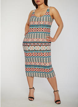 Plus Size Sleeveless Printed Tank Dress - 0390038347623