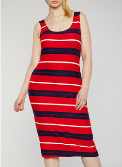 Plus Size Striped Midi Tank Dress - 0390038347625