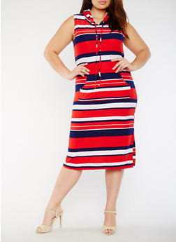Plus Size Sleeveless Striped Dress with Hood - 0390038347628