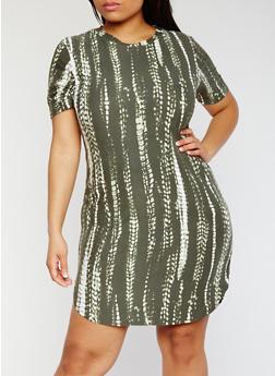 Plus Size Short Sleeve Tie Dye T Shirt Dress - OLIVE - 0390038347629