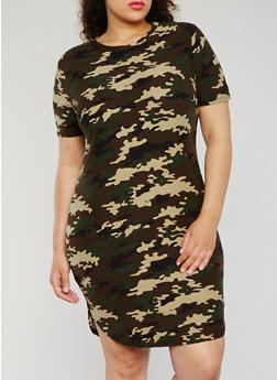 Plus Size Short Sleeve Camouflage T Shirt Dress - 0390038347635