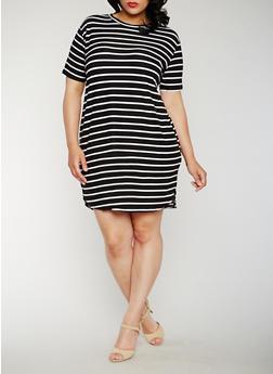 Plus Size Striped Mid Length T Shirt Dress - 0390038347636