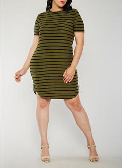 Plus Size Striped Mid Length T Shirt Dress - 0390038347636