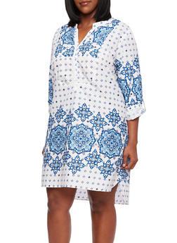 Plus Size Shift Dress in Grecian Print - 0390038347708