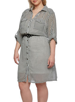 Plus Size Striped Shirt Dress with Belt - 0390038347712