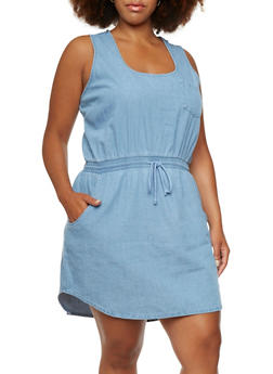 Plus Size Sleeveless Denim Dress with Drawstring Waist - 0390038347729