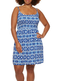 Plus Size Printed Dress with Smocked Bodice - 0390038347738