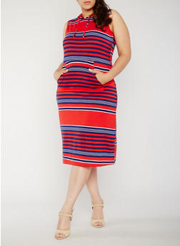 Plus Size Striped Americana Dress with Hood - 0390038347742