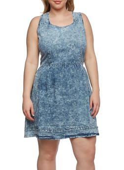 Plus Size Vintage Acid-Wash Skater Dress with Lace-Up Back - 0390038347746