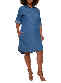 Plus Size Chambray Shirt Dress with Button-Down Front and Pockets - 0390038347747