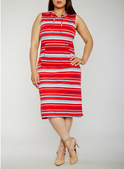 Plus Size Sleeveless Striped Midi Dress with Hood - 0390038347794