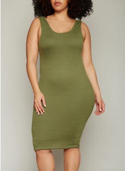 Plus Size Ribbed Knit Midi Tank Dress - OLIVE - 0390038347803