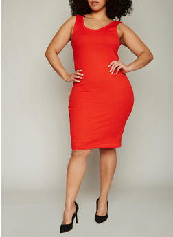Plus Size Ribbed Knit Midi Tank Dress - 0390038347803