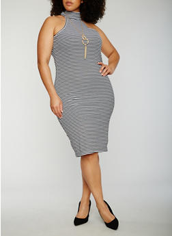 Plus Size Striped Sleeveless Mock Neck Dress - 0390038347806