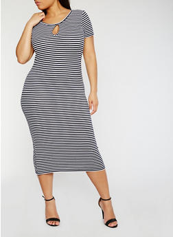 Plus Size Short Sleeve Striped Midi Dress - 0390038347809