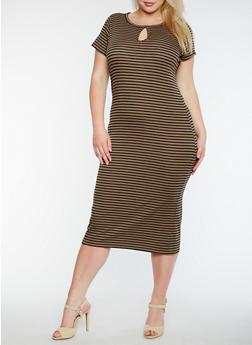 Plus Size Short Sleeve Striped Midi Dress - 0390038347809